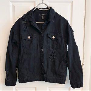 Black denim distressed jacket